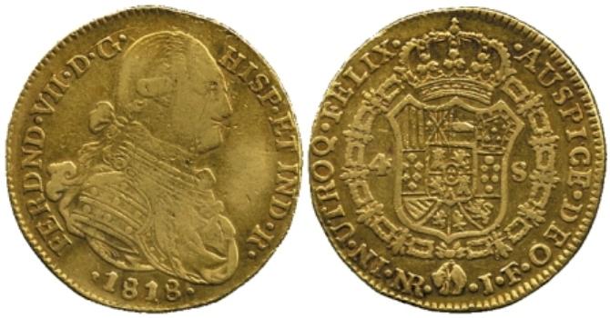 Identificar extraña moneda fernando VII 1818 pero 4 escudos de N. Reino Spai907